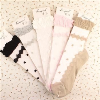 丝袜套餐:外贸进口白色蕾丝长筒袜+糖果色玻璃丝袜