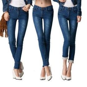2012秋装新品两穿小脚铅翻折笔牛仔裤女裤子