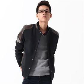 2012秋冬新款韩版男士夹克 PU皮质拼接个性男外套