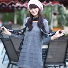 打底衫 中长款长袖针织衫 女 打底连衣裙
