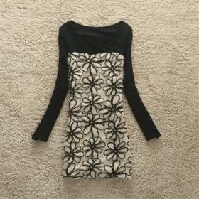 2012冬装新款韩版女装网纱立体勾花双层加绒加厚连衣裙