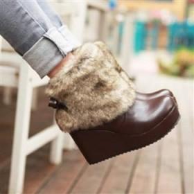 包邮秋冬蝴蝶结短靴防滑底坡高跟及裸靴女雪地靴SX621