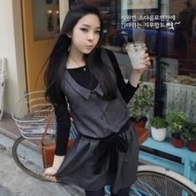 韩版修身背心连衣裙 深灰色