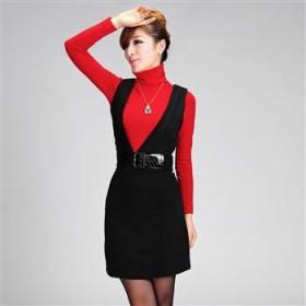 韩版修身显瘦深V领连衣裙毛呢裙长裙裙子背