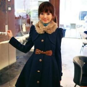 元旦快乐2012秋冬爆款甜美系羊绒大毛领单排扣呢子大衣