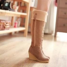 冬新款保暖毛绒长靴磨砂坡高跟防滑底女高筒靴