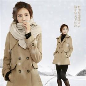冬日必备修身加厚英伦呢大衣中长款毛呢外套
