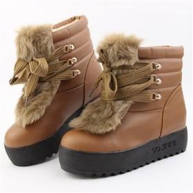 女鞋秋新款短靴女靴松糕厚底鞋女鞋增高短靴毛毛鞋