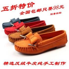 韓版新品豆豆鞋蝴蝶結女鞋低幫平底反絨真皮單鞋