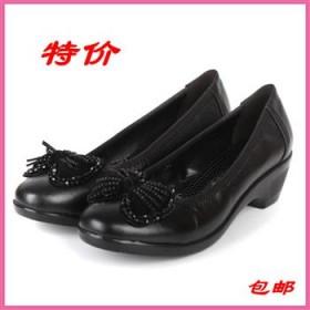 柏丽丝女鞋头层软面牛皮舒适粗中跟妈妈鞋中老年女鞋