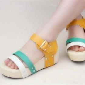 新款松糕底凉鞋厚底鱼嘴鞋平跟女鞋凉鞋包邮