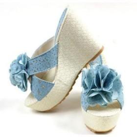 夏季新款韩版坡跟高跟厚底防滑凉鞋立体大花朵凉拖鞋