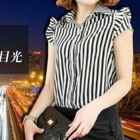 夏黑白条纹圆波点休闲时尚雪纺收腰翻领显瘦女连体裤
