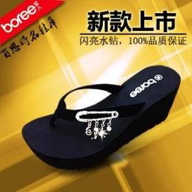 畅销代理宝人品牌2013夏季新款女鞋简约水钻钻坡跟人字