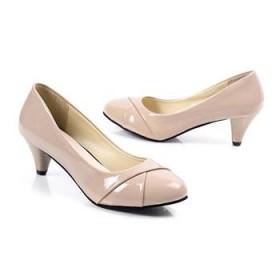新款OL女鞋 圆头中跟百搭女跟鞋 进口漆皮浅口时尚单鞋