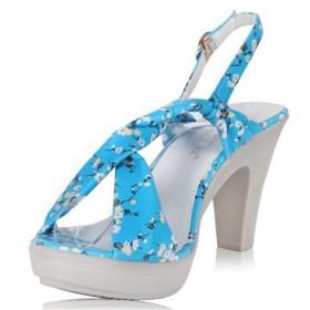2013夏季新款 花朵高跟防水台交叉绑带女鞋 女式凉鞋