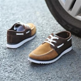 男式低幫鞋英倫流行男鞋仿絨皮拼色系帶休閑鞋板鞋