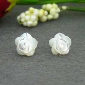小清新 925纯银耳钉女 母贝玫瑰花朵耳钉耳饰 韩国银饰