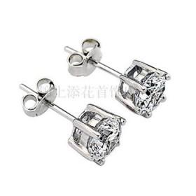 时尚六爪 925纯银耳钉女 瑞士钻耳钉耳饰纯银饰品首饰