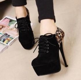 欧美女鞋 性感豹纹拼色高跟防水台系带裸靴 40码