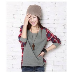 2013秋装新款大码女装宽松休闲纯棉韩版不对称格子衬衫