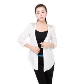 2013春秋韩版短外套小西服七分袖雪纺不规则开衫