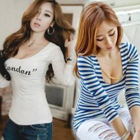 2013秋季新款韩版修身打底衫长袖女T恤条纹长袖t恤
