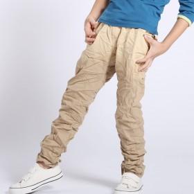 男童长裤 2013秋新款 潮款男童褶皱长裤 纯棉