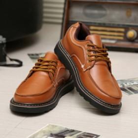今秋新款车缝线真皮英伦工装鞋经典厚底增高男低帮潮鞋
