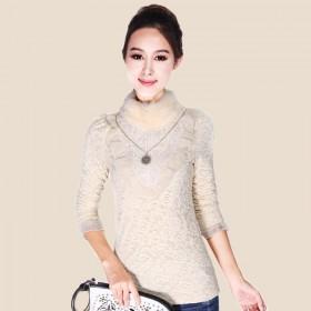 秋冬女装韩版甜美荷叶边兔毛围领蕾丝T恤加绒打底衫