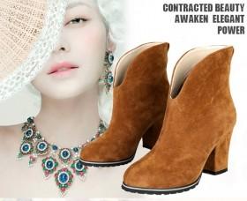 2013秋季新款三穿毛套欧美女鞋皮带扣高跟鞋粗跟短靴