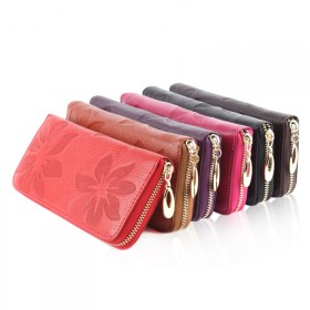 唯诺格女包 2013新款包包 欧美时尚范木棉花真皮钱包