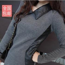 加绒加厚打底衫女长袖连衣裙秋装韩版潮冬季长款T恤