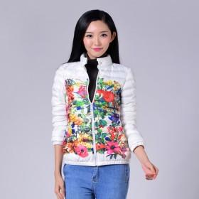 冬装新款女装 彩色印花短款棉衣