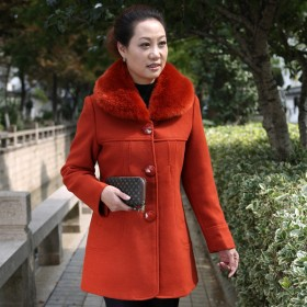 中老年女装秋装外套大码中年妈妈装中老年毛呢大衣外套