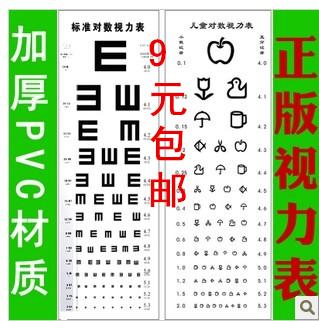 【包邮】 国际标准对数视力表挂图加厚pvc材质清晰 儿童视力表