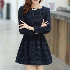 秋冬新款蓝色格子修身显瘦厚毛呢连衣裙