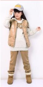女童新款卫衣马夹裤子三件套