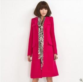 欧洲站2013红色毛呢大衣女款加长款毛呢外套秋冬时尚直