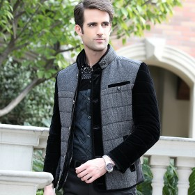 新款拼接男士修身立领棉夹克棉衣加厚外套