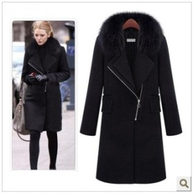 新款品牌呢大衣欧美绯闻女孩同款狐狸毛领冬装修身毛呢