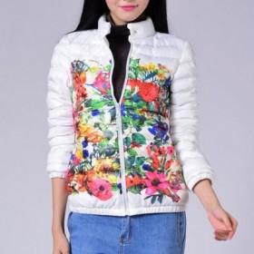 2013冬装新款 时尚印花羽绒棉衣