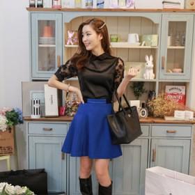 蓝色毛呢半身裙