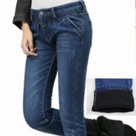 【1212·整点抢】加绒加厚牛仔裤 中腰精品牛仔哈伦裤