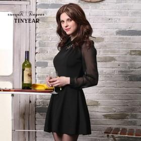 【泰妮儿】黑色 长袖 修身连衣裙