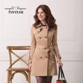 【泰妮儿】双排扣 肩章 卡其色风衣 2月14日前发货