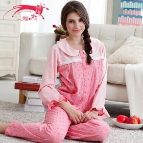 猫和才女 春季女款甜美舒适精梳棉质睡衣长袖家居服
