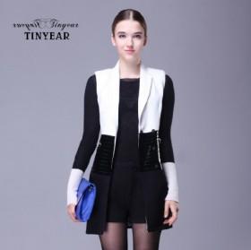 【泰妮儿】秋装 简约 拼接 黑白撞色 无袖拼皮外套