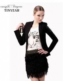 【泰妮儿】欧美 修身 绣花 长袖 黑色小西装 女