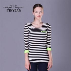 【泰妮儿】简约时尚条纹衫 长袖女T恤针织衫